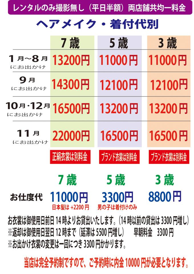 レンタルのみ価格表